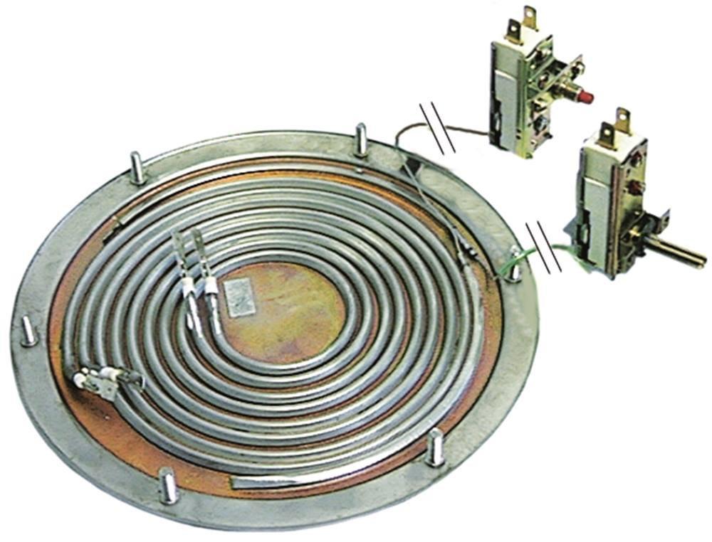 EGO 28.06013.300 Heizboden mit Sicherheitsthermostat 250/°C Thermostat 128/°C 1800W 230V 2 Heizkreise Befestigung M5 /ø 196mm