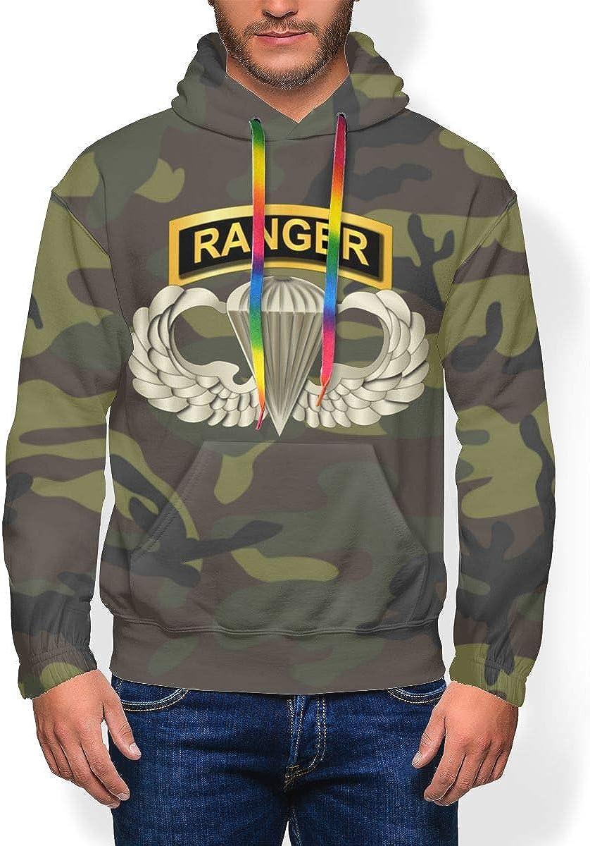 HUZEMINyi Airborne Badge Ranger Tab Mens Hoodie Pullover Hoodie Hooded Sweatshirt
