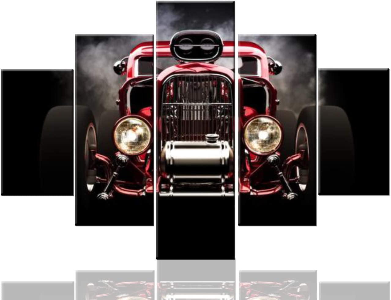 TUMOVO Artwork for Walls Retro Vintage Car Pictures Hot Rod Paintings 5 Pcs/Multi Panel Canvas Wall Art Modern Artwork Home Decor for Living Room Framed Ready to Hang Posters and Prints(60''Wx40''H)