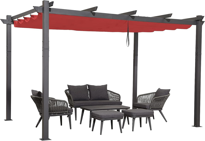 PURPLE LEAF 10' X 12' Aluminum Outdoor Retractable Canopy Pergola Deck Garden Patio Gazebo Grape Trellis Pergola, Terra