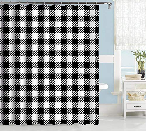 Gingham Shower Curtain (Uphome Buffalo Check Shower Curtain, Farmhouse Black White Plaid Gingham Fabric Shower Curtain, Vintage Checkered Geometric Cloth Bathroom Curtains, Water Resistant Heavy Weighted, 72 x)