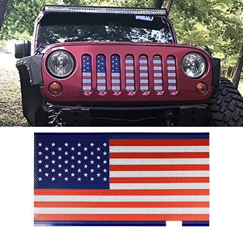 (ICARS American Flag Front Mesh Grille Inserts for 2007-2018 Jeep Wrangler JK & Wrangler Unlimited JKU)