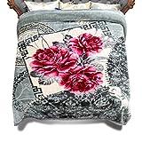 "JML 10 Pounds Heavy Plush Soft Blankets for Winter, Korean Style Mink Velvet Fleece Blanket – 2 Ply A&B Printed Raschel Bed Blanket King Size 85"" x 93"" (Grey Floral)"