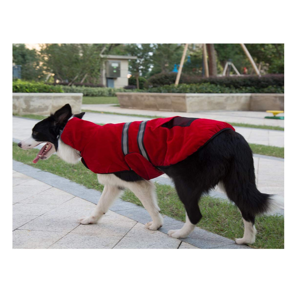 Pet Dog Clothing, golden Hair, Autumn and Winter Clothing, Large Dogs, Thick, Labrador, Medium-Sized Dogs, Safety Clothing, Reflective Cotton Clothing (color   pink red, Size   L)