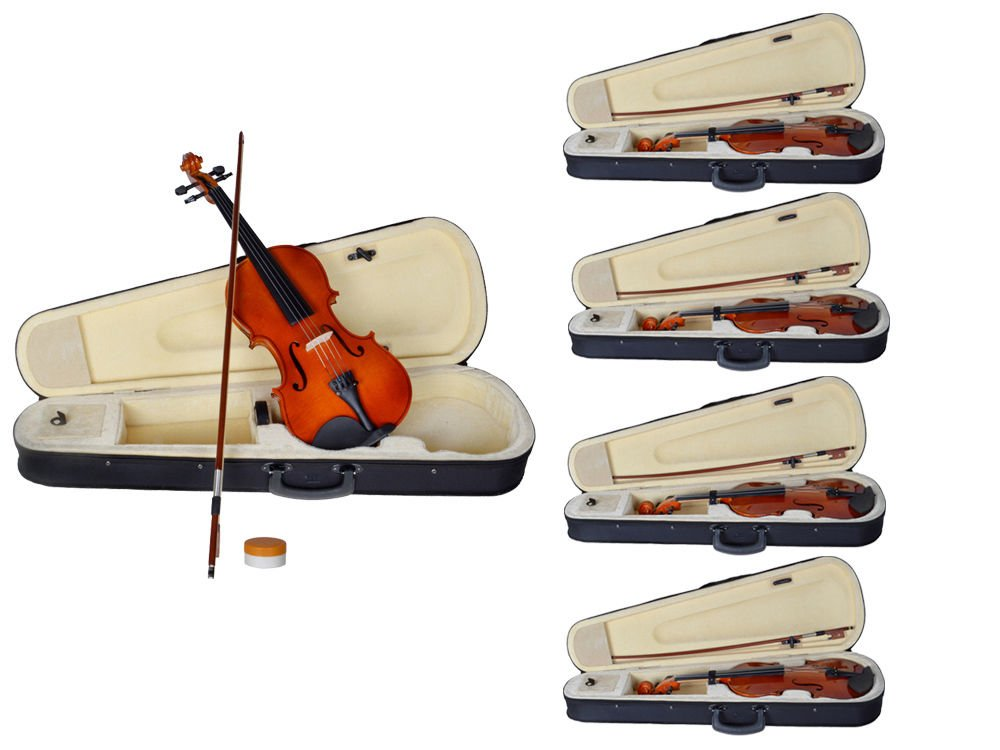 GHP Set of 5 Natural Color 4/4 Full Size Acoustic Violin Fiddle with Case Row Rosin