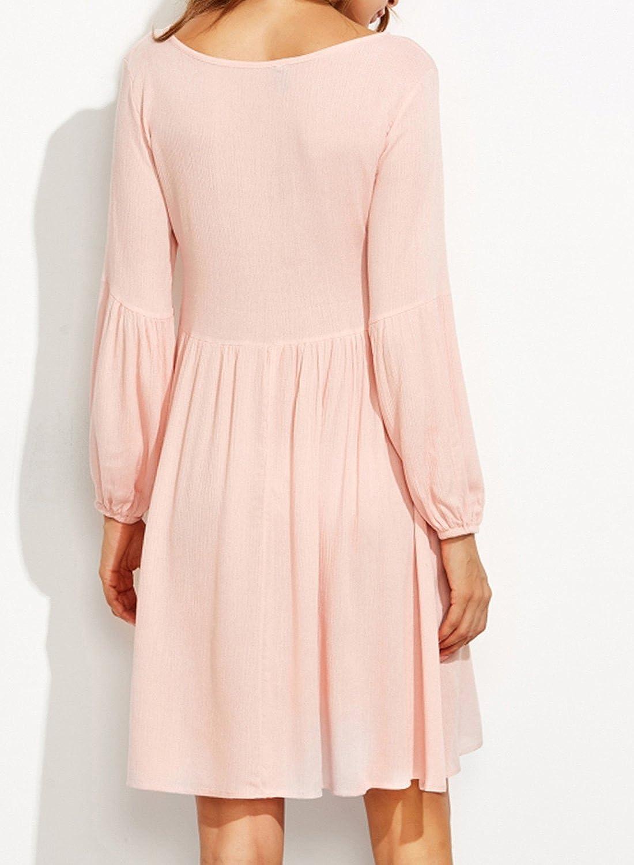 ACHICGIRL Women's Deep V Neck Lace Up Lantern Sleeve Dress