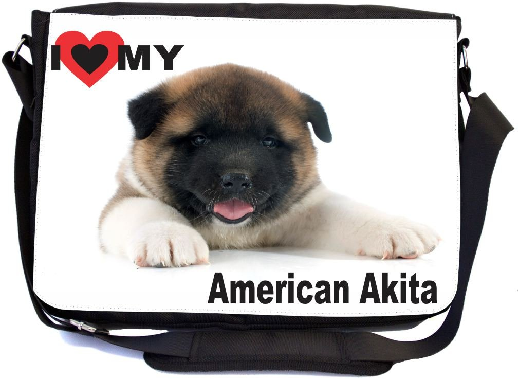 I Love My American Akita Puppy Dog Design Premium School Messenger Bag + UKBK Wristlet