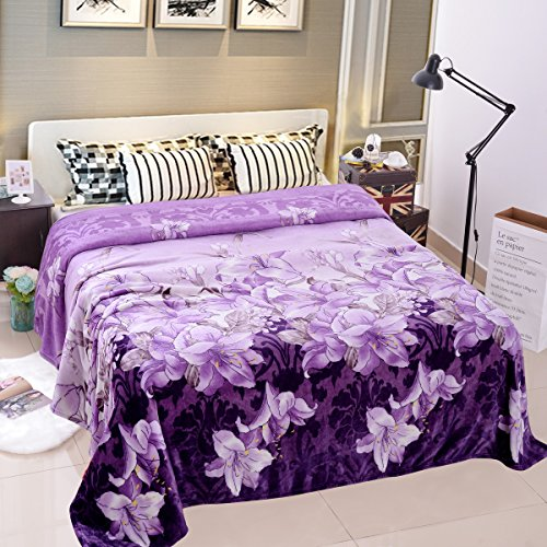 Jml Lightweight Plush Soft Warm Printed Pattern Flannel Fleece Bed Throw Raschel Blanket, King Size, Light Purple Floral