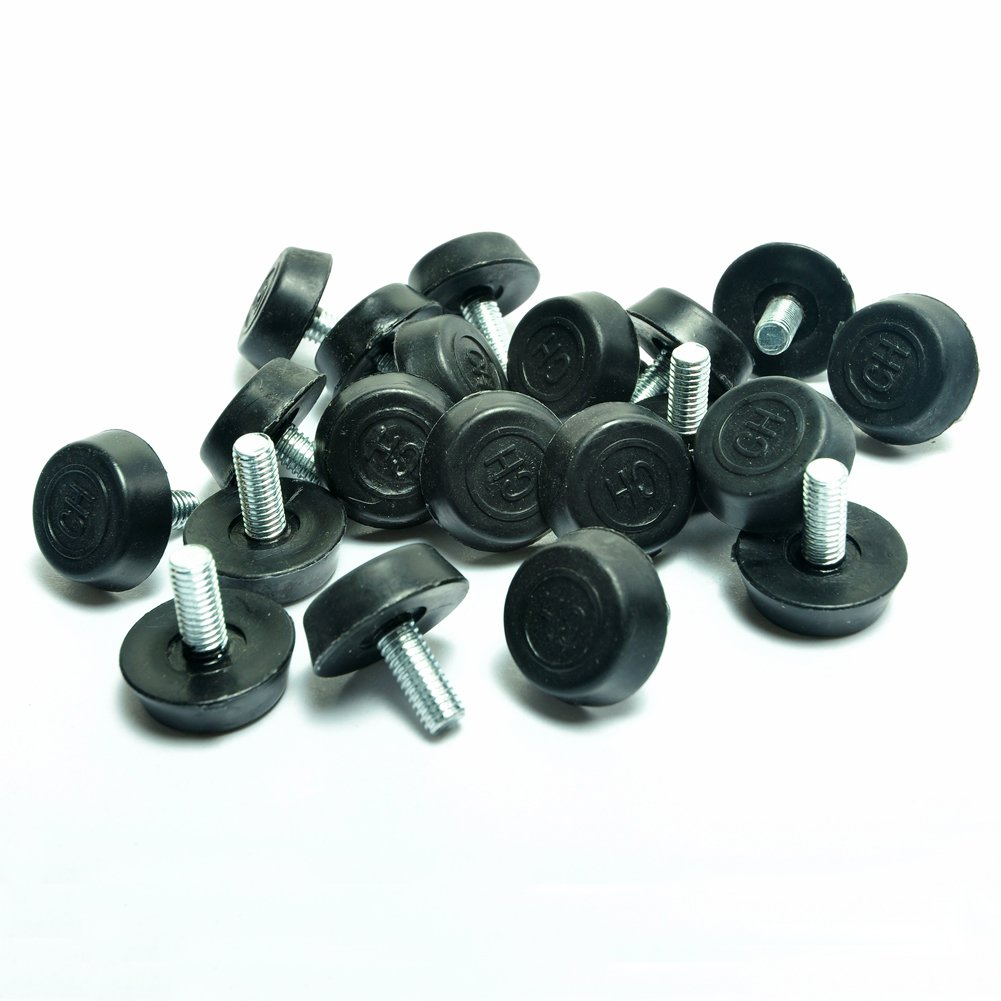 Screw On Furniture Glide Leveling Foot Adjuster for Furniture Legs 6mmx18mmx15mm 20 Pcs