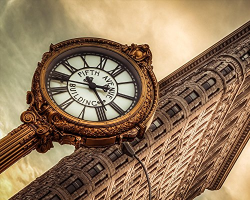 New York Poster Fifth Avenue Clock Photograph 16x20 - Stores 5th Manhattan Avenue