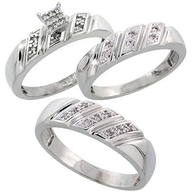 sterling silver diamond trio wedding ring set his 6mm hers 5mm rhodium finish ladies - Wedding Ring Trios