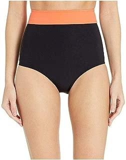 product image for Flagpole Women's Arden High Rise Bikini Bottoms, Black/Papaya, Medium