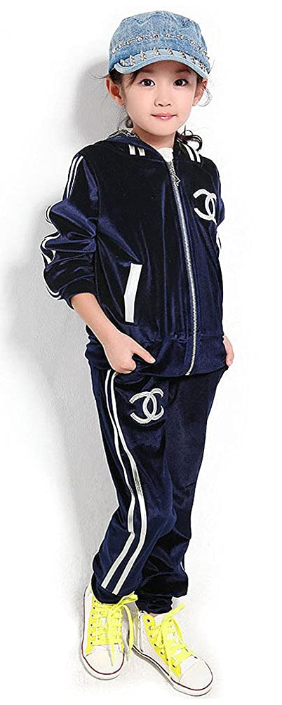 Sarah Kids Girls Velvet Hoody casual two-piece sports suits Children#DY270