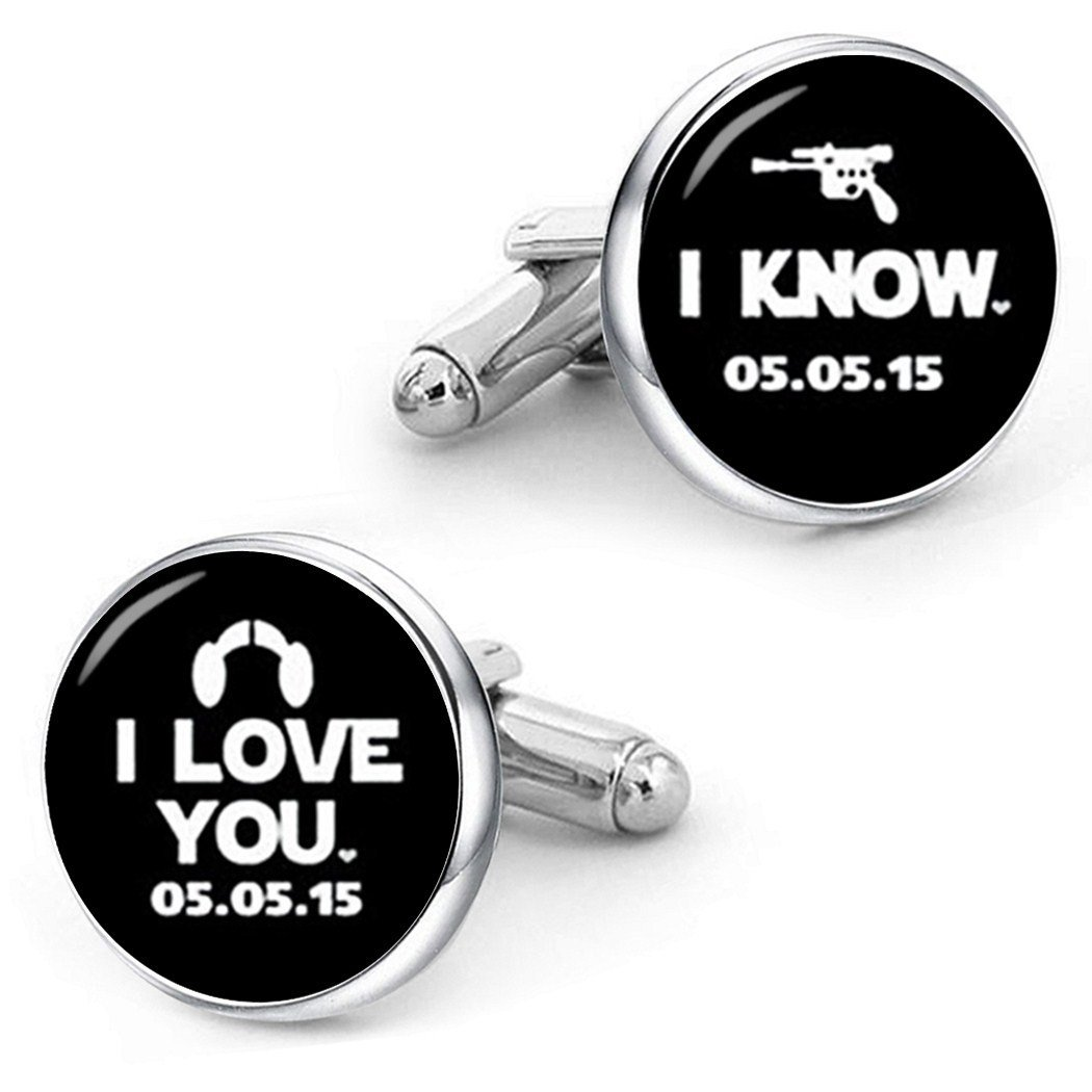 Kooer I Love You I Know Cufflinks For Star Style Custom Personalized Wedding Cuff Links Jewelry (silver plated cufflinks)