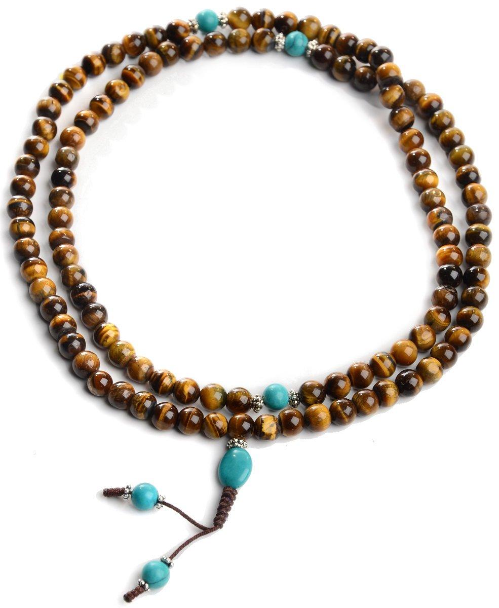 BUDDHAFIGUREN/Billy Held Mauvaise d\'œil du Tigre avec Turquoise, Chapelet Bouddhiste avec chaîne de Perles de 9mm
