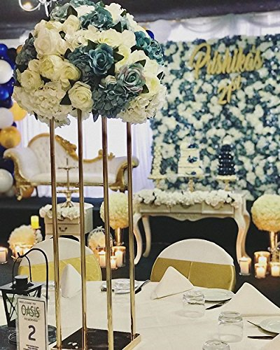 Everbon 5PCS Gold Silver Wedding Flower Stand 31.5 Inches Tall Crystal Flower Chandelier Centerpiece For Rustic Vintage Wedding Head Table Decorations Ceremony Decor Party Reception Anniversary (Gold)