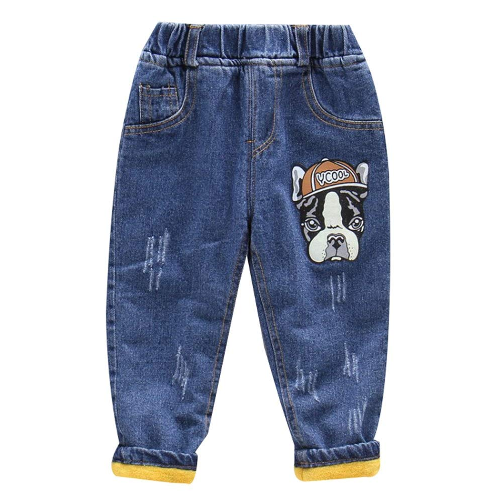 Happy childhood Elastic Waist Fleece Lined Blue Denim Pants Jeans Cartoon Prints Winter Warm Basic Trousers Baby Boys
