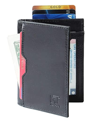 8611168ff9e6 MIN-TAN RFID Blocking Slim Bifold Thin Genuine Leather Front Pocket Black Mens  Wallet  Amazon.in  Bags