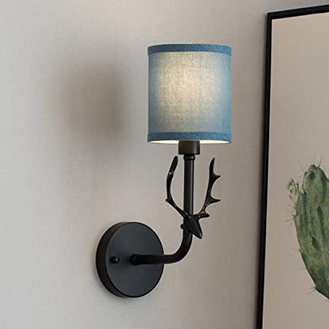 Iyoee Wall Sconce Lamps Lighting Fixture Black Lucky Deer Headlight E12 Edison Blue Linen Lampshade With Black Painting Lamp Body Bedroom Bedside Lamp