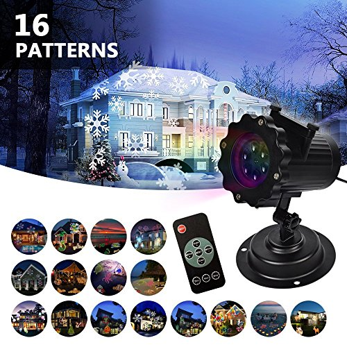 LIFU Christmas Lights Projector - 2018 Upgrade Version 16 Patterns LED Projector Landscape lamp Remote Control and Waterproof Perfect for Halloween or Christmas (Best Christmas Lights For Outside House)