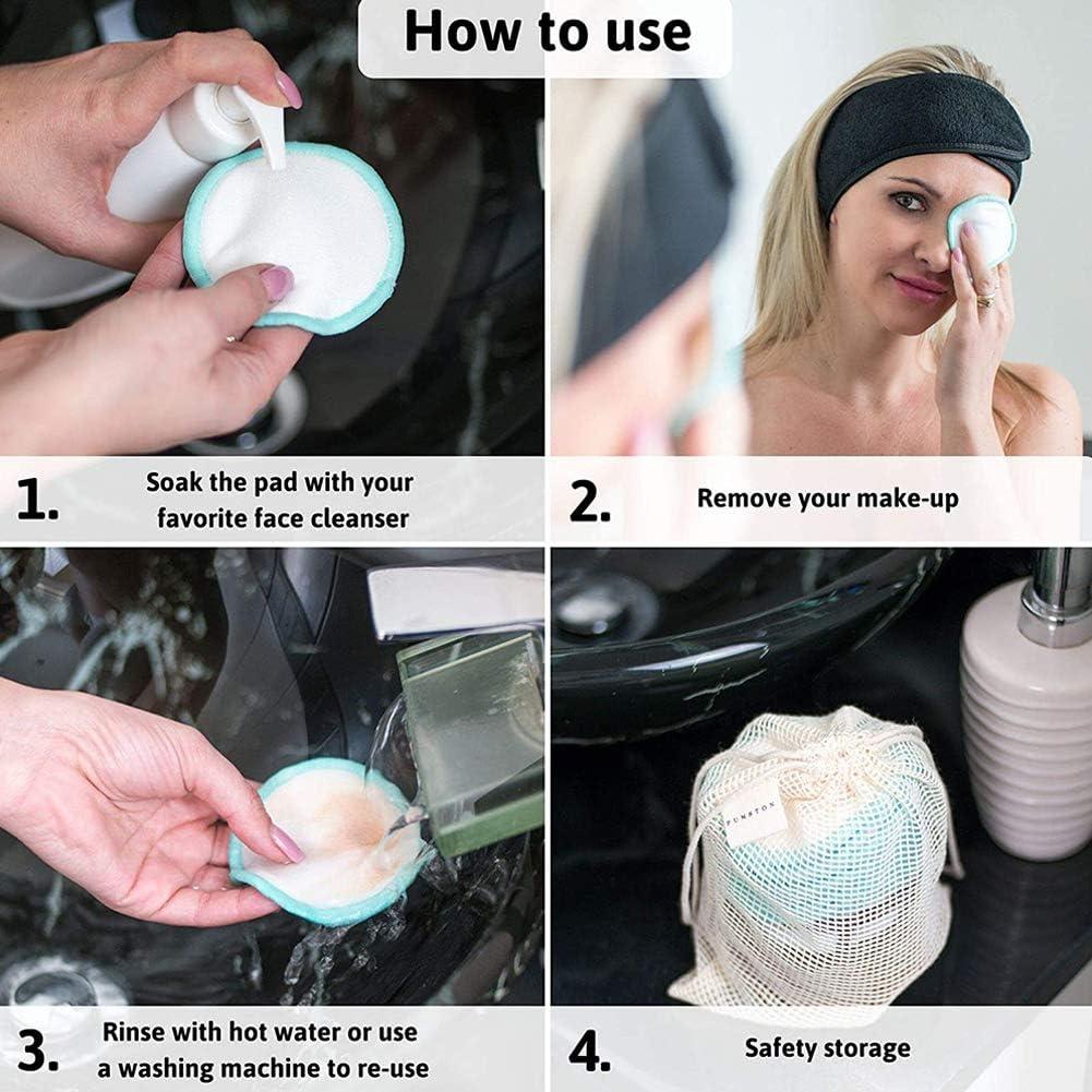 Desmaquillante Facial Lavable Aptos Para Todo Tipo de Pieles y Beb/és BETOY 16 Discos Desmaquillantes con Bolsa de Lavado Discos Desmaquillantes Reutilizables Hechos de Fibra de Bamb/ú