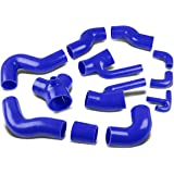 For Audi S4/A6 Turbo Intercooler Silicon Hose Piping Kit Set (Blue) -