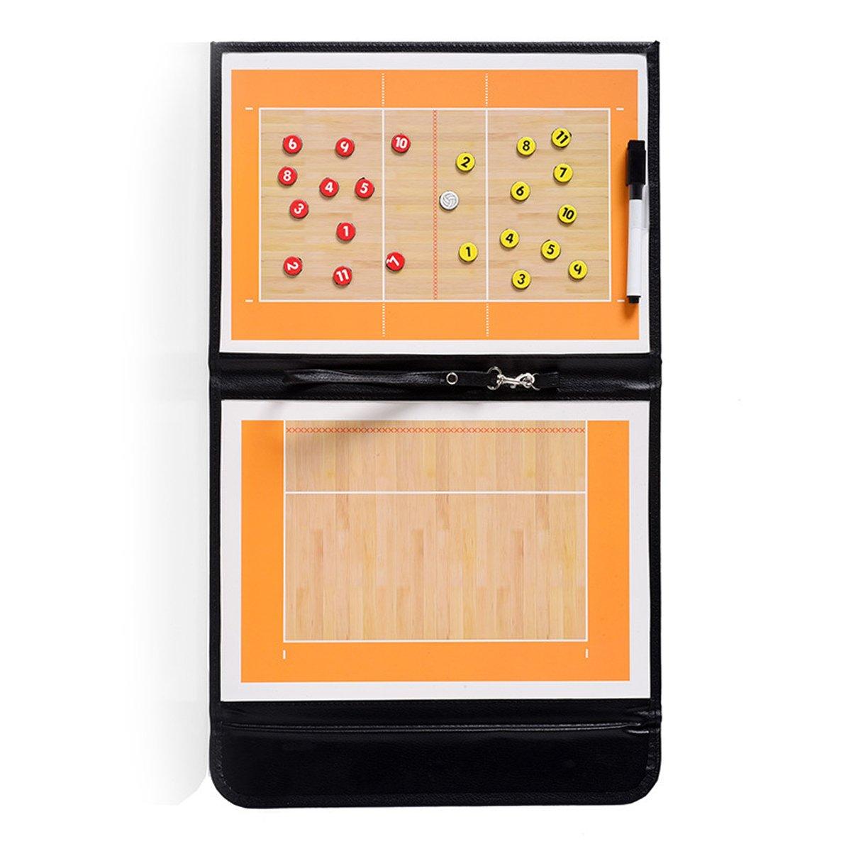 Pizarra magnética y táctica para el entrenador, de cuero perfecto, plegable, para baloncesto, voleibol, balompié/fútbol, de la marca Adesugata, Basketball