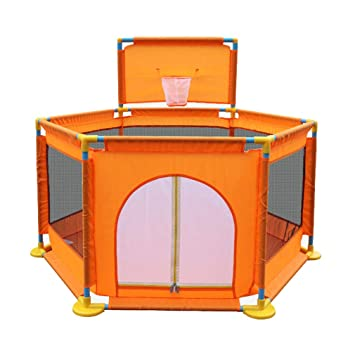 Zippered Safety Playpen Play Area Gate Waterproof Baby Play Yard with Fence and Basketball Hoop