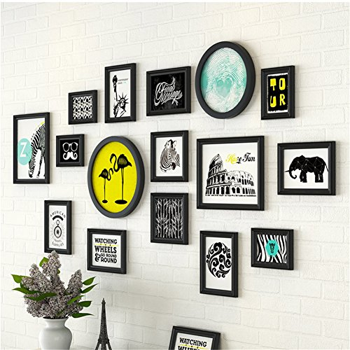 16 Pcs/Set Different Shape Solid Wood Picture Frame Wall with Different Style Picture Elements Modern Art Decor (Black with Travelling Animals Prints) by PengTribe