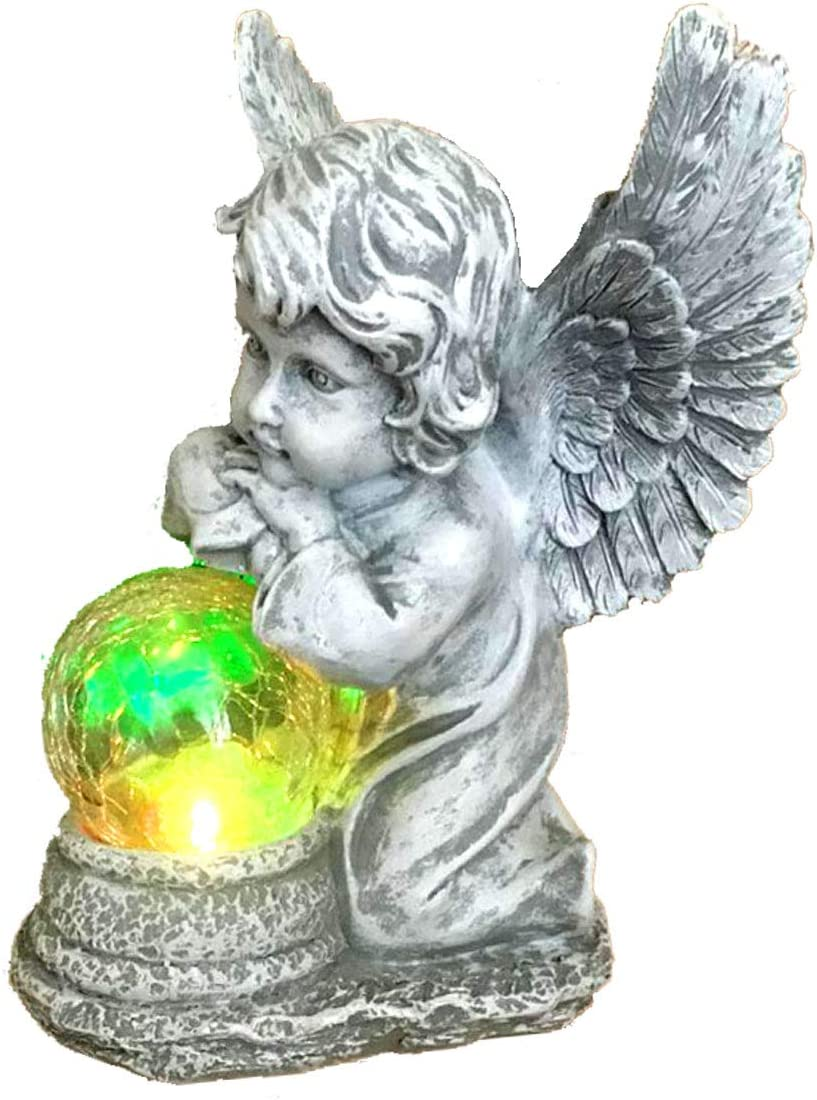 Solar Powered Angel with Solar Glowing Globe LED Garden Light Decor Color Change