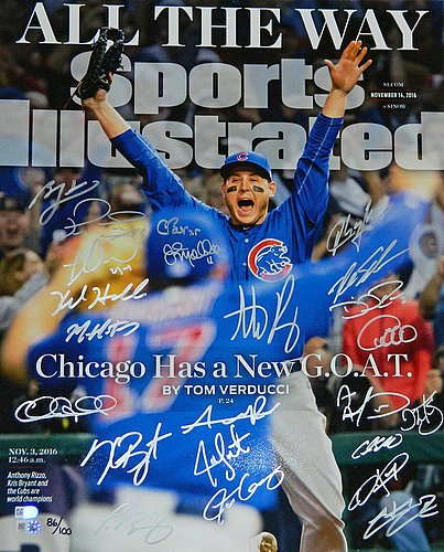 2016 Chicago Cubs Team Signed Chicago Cubs 2016 World Series Anthony Rizzo Sports Illustrated Cover 16x20 Photograph (23 Sigs) - Authentic (16x20 Mlb Sports Illustrated Cover)
