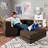 Jaxx Zipline Kids Loveseat / Flip Open Lounger & Large Ottoman, Big Kids Edition, Chocolate