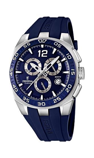 Festina F16668/2 - Reloj cronógrafo de cuarzo para hombre con correa de caucho, color azul: Amazon.es: Relojes