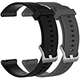 RuenTech Bands Compatible with Garmin Vivoactive 3, Vivoactive 3 Music, Vivomove HR, Vivomove Watch Band 20mm Quick Release Silicone Bands (Black and Gray)