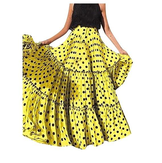 Gusspower Mujer Falda Maxi Vintage Casual Tallas Grandes Cintura ...