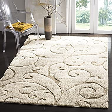 Safavieh Florida Shag Collection SG455-1113 Scrolling Vine Cream and Beige Graceful Swirl Area Rug (5'3  x 7'6 )