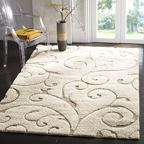 Safavieh Florida Shag Collection SG455-1113 Scrolling Vine Cream and Beige Area Rug (8' x 10')