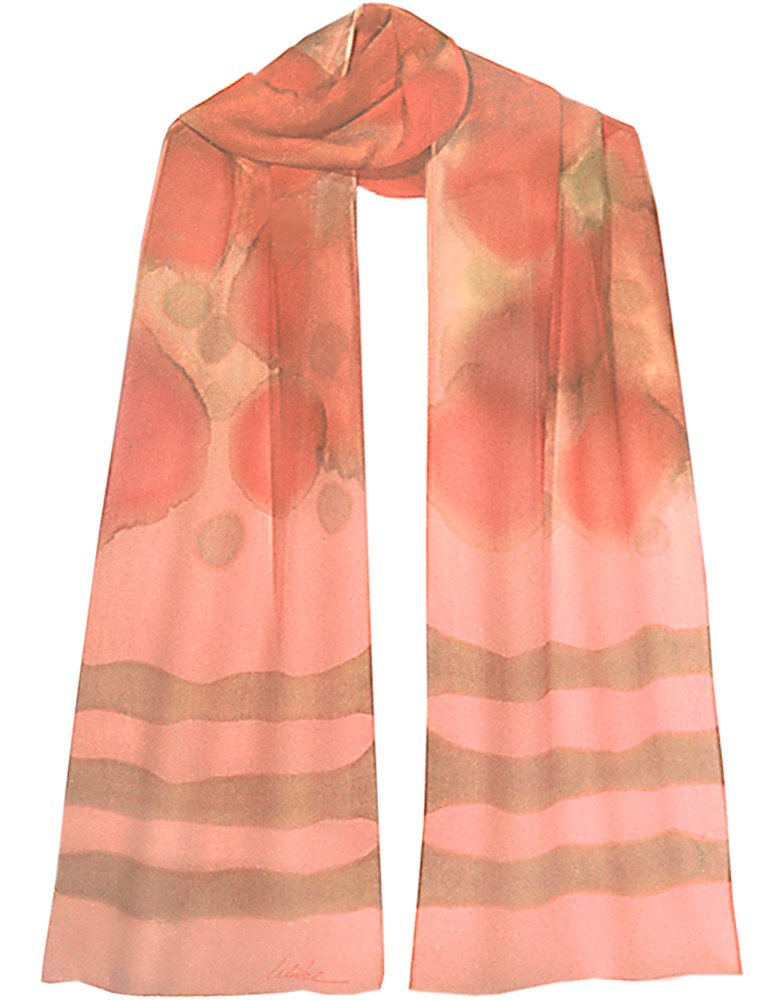 Big peach petals drape over an ombre to pale creamy green-gold with tan stripes by ULRIKE