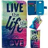 Alcatel C7 Case,alcatel c7 cover,Nacycase alcatel one touch pop c7 flip cover PU Leather Flip Wallet Card Slots Stand Case Cover For Alcatel One Touch Pop C7 Case (Live the life you love)