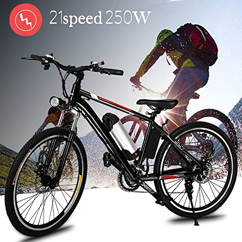 Leoneva 26-Inch Electric Mountain Bike With 250W 36V Removable Lithium-Ion Battery,21-Speed Transmission System Fork Dual Disc Brakes by Leoneva