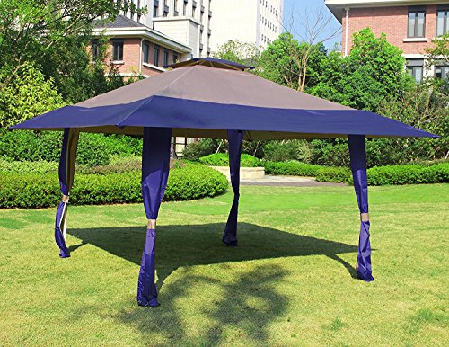 Cloud Mountain 13' x 13' Outdoor Canopy Gazebo Yard Patio Easy Pop-Up Double Roof Gazebo Canopy Tent Resist Light Rain for Party Event, Royal ()