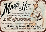 1912 Honus Wagner for I.W. Harper Whiskey Vintage Look Reproduction Metal Signs 12X16 Inches