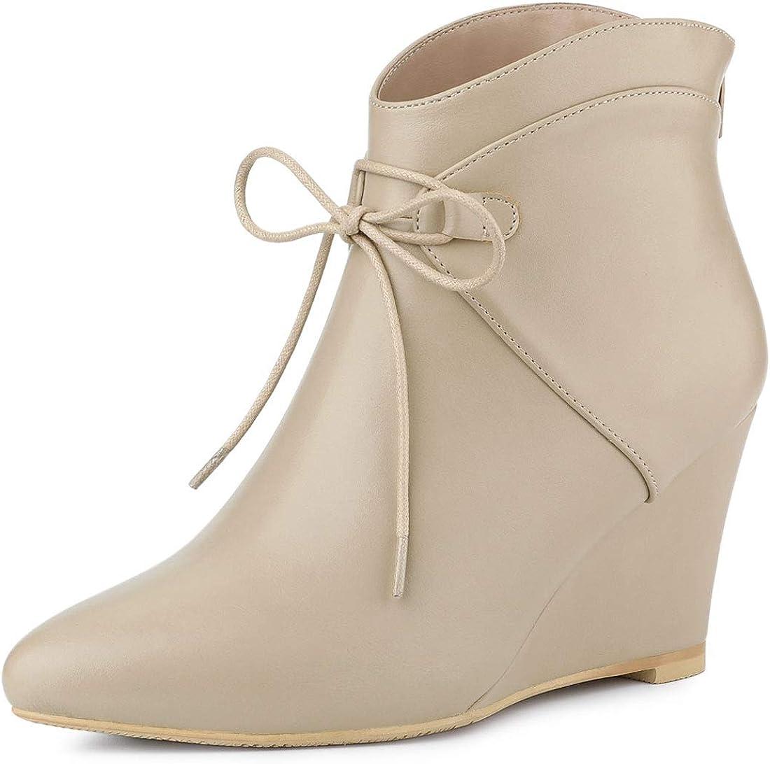 Allegra K Women's Pointed Toe Zip Wedge Heel Ankle Boots