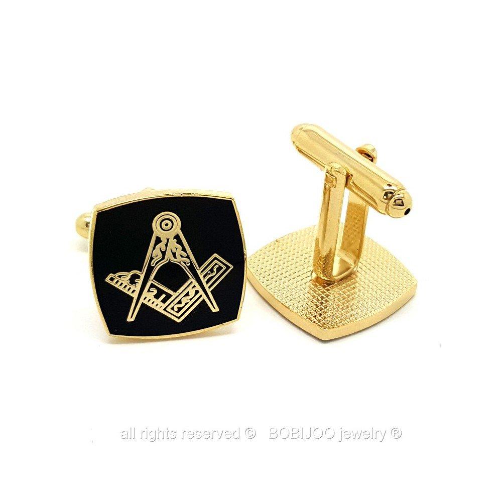 BOBIJOO Jewelry Boutons de Manchette Franc Ma/çon Laiton Email Noir Carr/é Ma/çonnerie Masonic Freemason