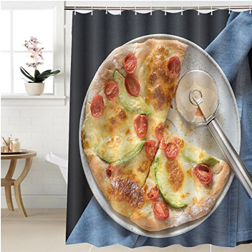 Gzhihine Shower curtain avocado and cherry tomatoes pizza and pizza knife Bathroom Accessories 66 x 72 inches