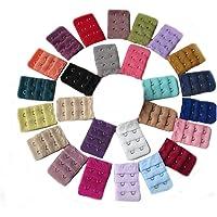 Ewandastore 22 pcs Assorted Colors Women 2 Hook 3 Rows Spacing Bra Extender Strap,Color in Random