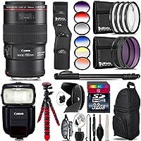 Canon EF 100mm f/2.8L Macro IS USM Lens + Canon Speedlite 430EX III-RT + 6PC Graduated Filter Kit + UV-CPL-FLD Filters + Macro Filter Kit + 72 Photo/Video Monopod + Tulip - International Version