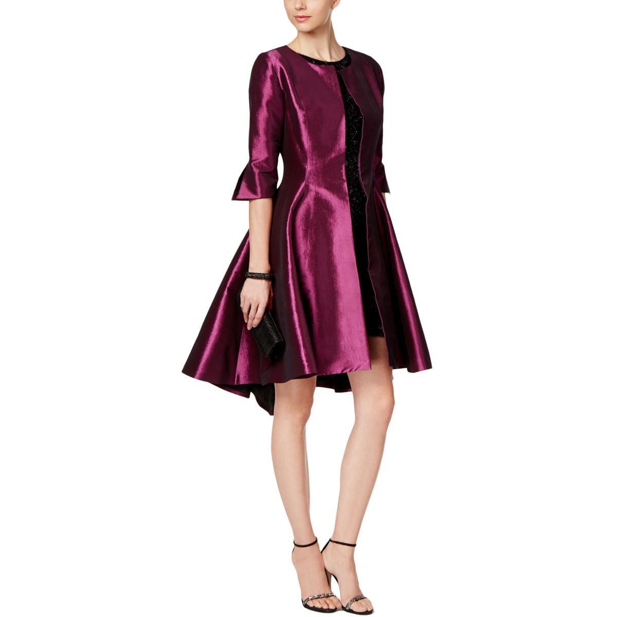 B Michael Womens Open Front Fit & Flare Jacket Purple 6