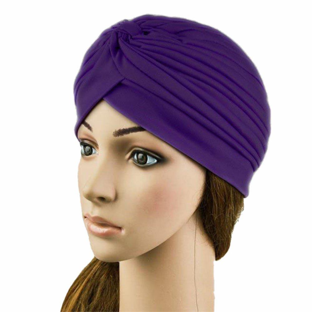 Weixinbuy Women Indian Style Headwrap Cap Turban Hat Hair Cover Purple WBL T0299 DZ
