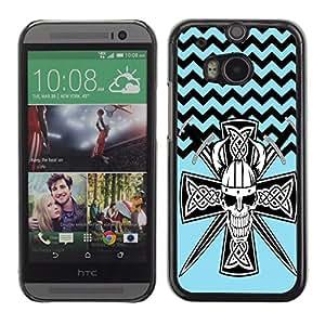 - Devil Cross Chevron Pattern - - Fashion Dream Catcher Design Hard Plastic Protective Case Cover FOR HTC One M8 Retro Candy